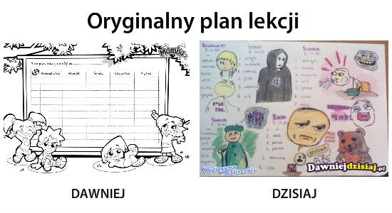 Oryginalny plan lekcji –