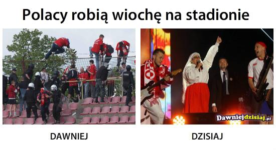 Polacy robią wiochę na stadionie –